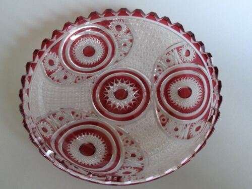 "VAL ST LAMBERT CUT GLASS RED COLOR Cut Spectacular platter Diameter: 8""1/4"