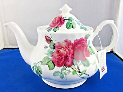 ENGLISH ROSE Fine Bone China 6 cup Teapot from Roy Kirkham, Made in England