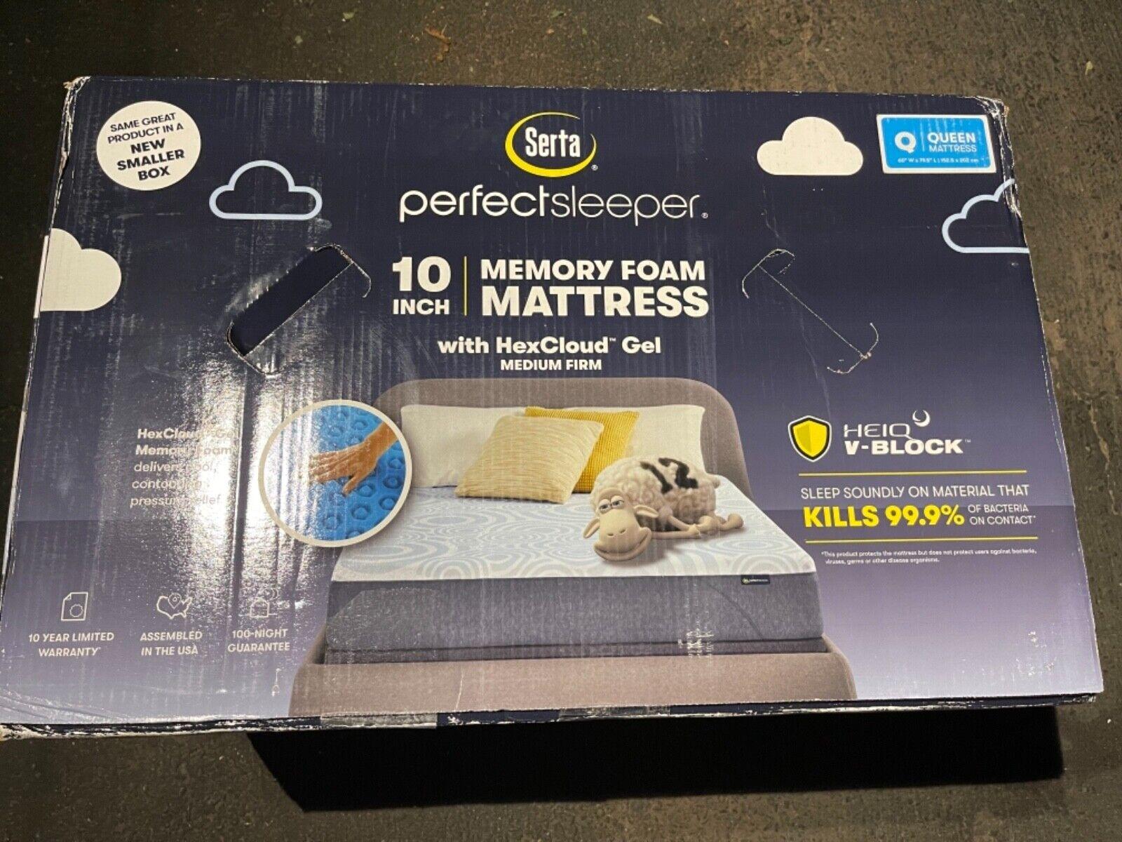 "NEW Serta Perfect Sleeper 10"" Medium Firm Memory Foam Mattre"