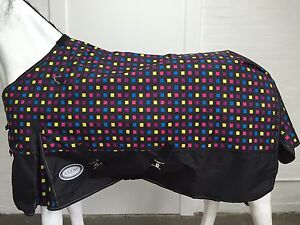 AXIOM 1800D BALLISTIC FANCY SQUARE/BLACK SUPER 220g HORSE RUG - 5' 3