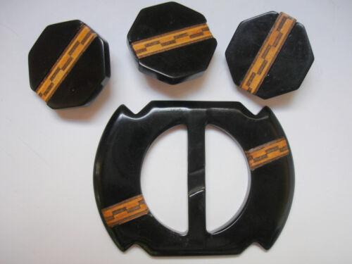 VINTAGE Button & Belt Buckle  SET Bakelite Catalin Black with Wood Inlay