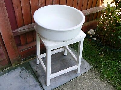 Vintage Wash Stand with White Ceramic Wash Basin