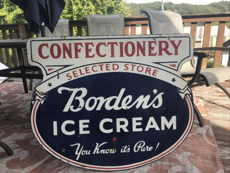 Large Original Borden's Ice Cream Double Sided Porcelain Sign