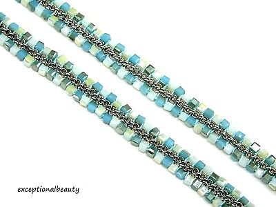 White Blue Opal Glass Beaded Faceted Square Cubes & Chain Weave 20 Inch Necklace