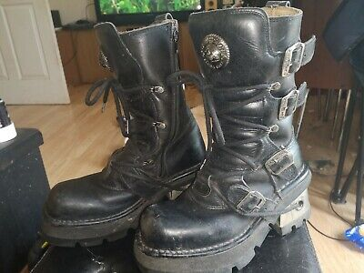 NEW ROCK REACTOR Black Leather Goth EMO Biker Boots EU 40 (UK 7 approx) Gothic Leather Boots
