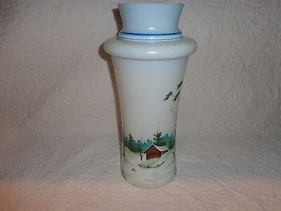 "Vintage White Frosted Glass Vase, Hand Painted Woodlands Scene, 12"" Tall"