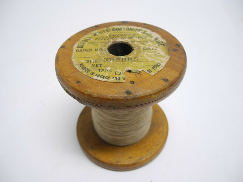 American Electrical Works Double-White Cotton Magnet Wire Wood Spool Size 36