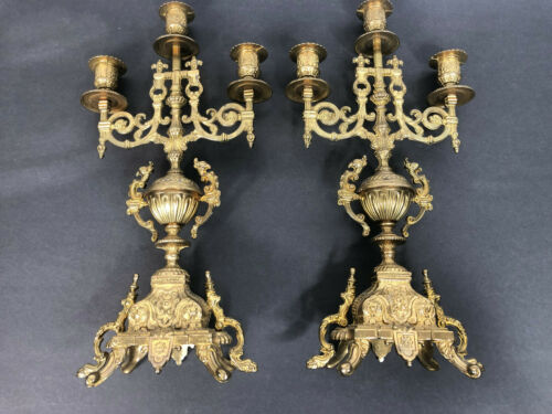 Antique Brass Baroque Candelabra 3 Arm Candle Holder Pair Made in Italy