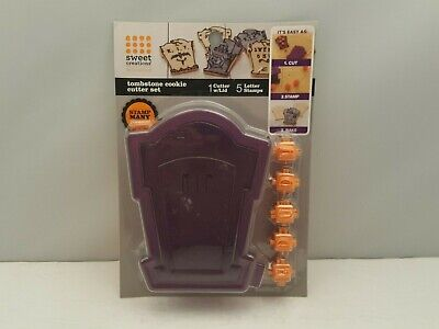 SWEET CREATIONS Tombstone Cookie Cutter Set w Lid & 5 Letter Stamps by Good Cook