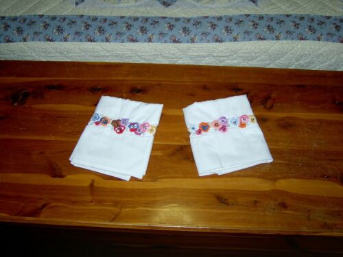 Vintage Pair of Embroidered Pansy Pillowcases