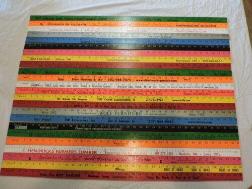 24 Yardstick Wood Wooden Ruler Lot Advertising Sign Color Art Craft Hobby