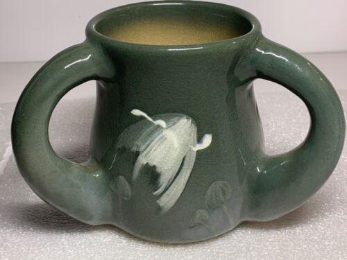 Owens Lotus Art Pottery Mushroom Three Handle Loving Cup Mug Vase Chilcote 234
