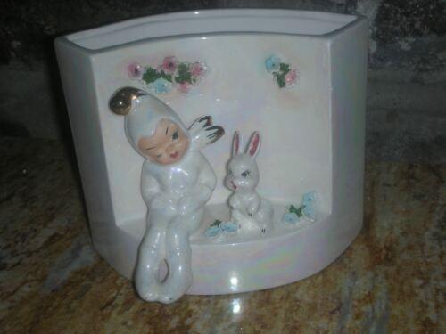 Vintage Lefton Easter Planter Bunny Rabbit & Pixie Mid Century Modern 50480