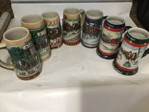 Lot of 7 vintage BUDWEISER Holiday/Collector Steins 1986-1991 beer mugs