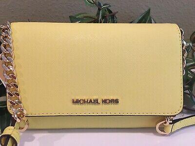 MICHAEL KORS JET SET TRAVEL MEDIUM PHONE CASE CROSSBODY XBODY YELLOW LEATHER