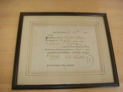 1783, Oliver Wolcott,  signed payorder for Continental Army Service Framed
