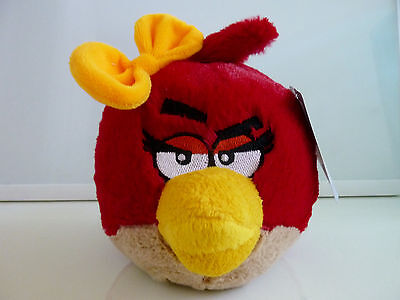 """New Angry Birds Plush Valentines Red Girl Yellow Bow Stuffed 6"""" NWT"""