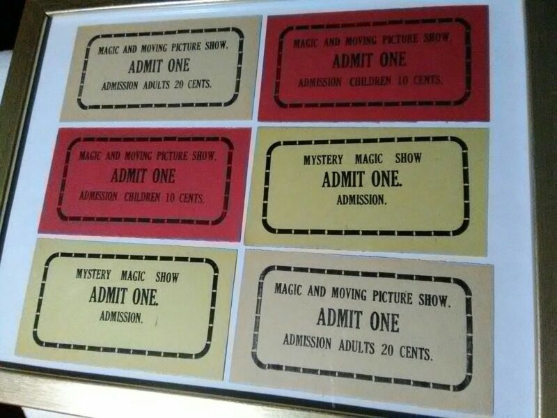 6 Super Rare Vintage Mystery Magic & Moving Picture Show Tickets 6 Lot Admission