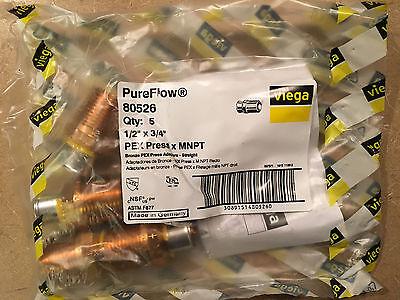 Viega 80526 Pureflow Bronze Press Adapter Pex Press X Mnpt 34 X 12 Set Of 5