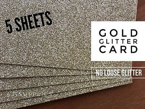 Gold Glitter CardStock (A4) High Quality Smooth No Loose Glitter Paper 5 Sheet