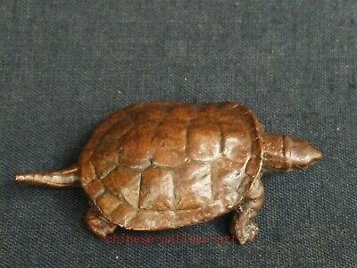 Collection Chinese Old Bronze Carving Lovely Turtle Statue Pendant Decoration