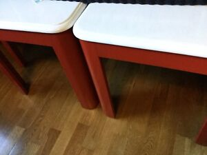 Red & white side tables set of 2.