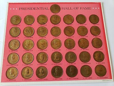 1968 Franklin Mint Presidential Hall of Fame Brass 36 Coin Set Ships