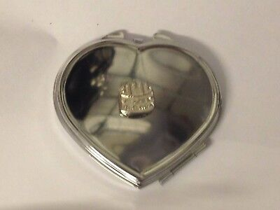 Heart Pewter Cake - Birthday Cake TG308 Fine Pewter on Heart Shape Compact Mirror