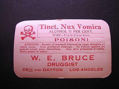 VTG Tinct.Nux Vomica Poison W.E. Bruce Druggist Gummed Back Paper Label Rx