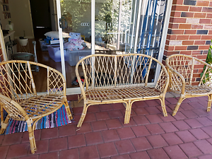 Antique wicker outdoor furniture with cushions Willagee Melville Area Preview