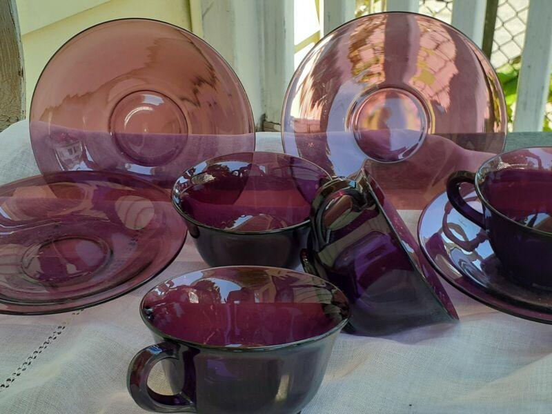 Hazel Atlas Glass Co. Moroccan Amethyst Glassware 4 sets cups saucers