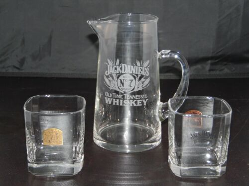 """Jack Daniels Old No. 7 Etched 7 1/4"""" Pitcher and 2 Square Old No. 7 Glasses"""