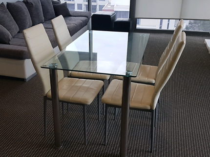 Glass Dining Table With 4 White Chairs Fantastic Furniture