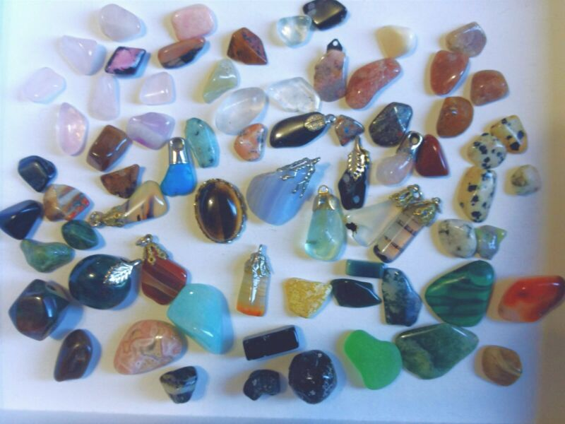 Large Mixed Lot of Vintage Gemstone Charms, Cabochons, and Small Stones, Pebbles
