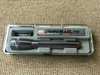New GRAY Mini MAGLITE Flashlight w/Plastic Case & 2 NEW AA Batteries