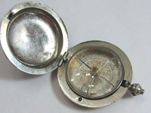 Antique Pocket COMPASS Push Button W/ Lid Pendant Style