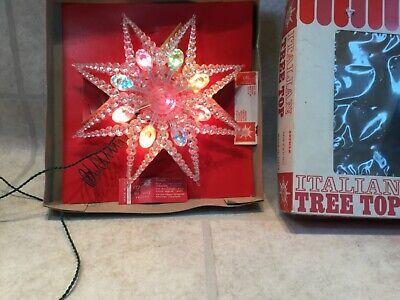 """Vtg Italian Light Christmas Star Tree Topper 8.5"""" Italy WORKS"""