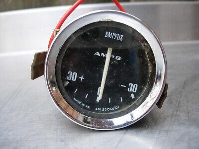 Classic SMITHS AM2300/01 AMPS AMMETER AMP METER GAUGE Black Face Chrome Bezel