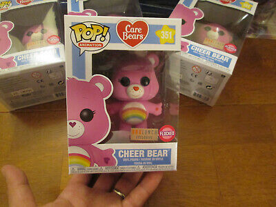 FUNKO POP CARE BEARS CHEER BEAR # 351 FLOCKED BOX LUNCH BOXLUNCH RAINBOW RARE
