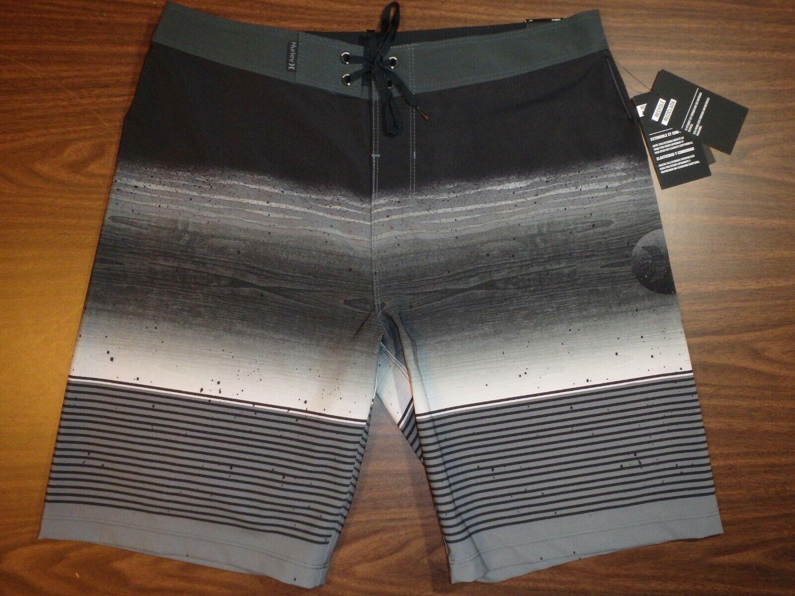 Hurley Men's Board Shorts - 20 inch Length - Black/Gray stri