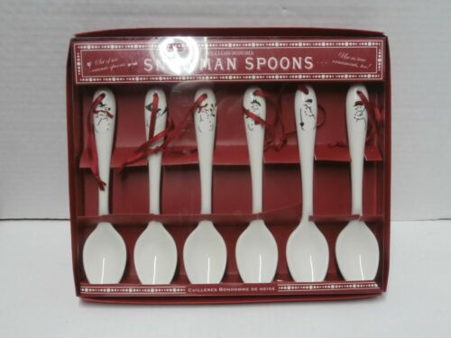 William Sonoma Snowman Spoons Set of 6 in Box - s2d