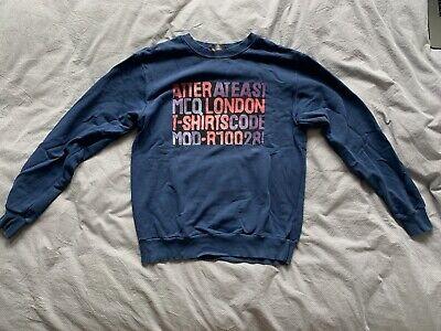 Alexander Mcqueen McQ Mens Blue Graphic Print Sweatshirt Size Medium