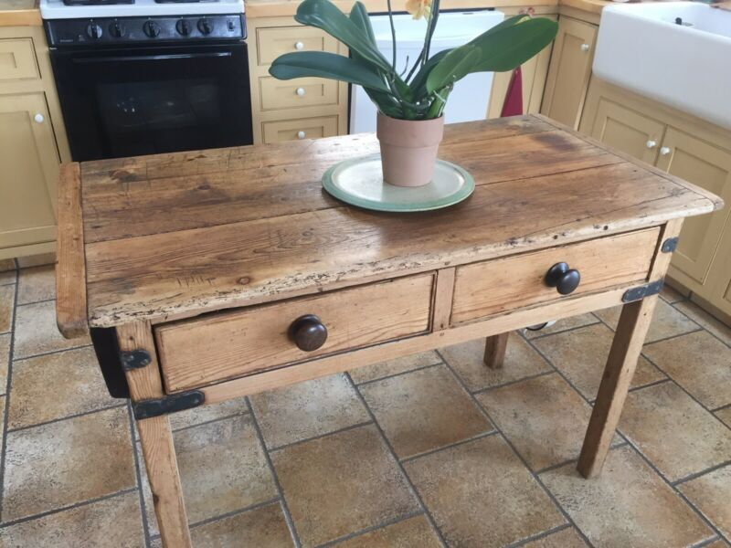 ANTIQUE ENGLISH FARMHOUSE KITCHEN ISLAND TABLE WITH DRAWERS
