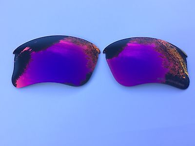 ENGRAVED POLARIZED BLUE RED MIRRORED REPLACEMENT OAKLEY FLAK JACKET XLJ  LENSES