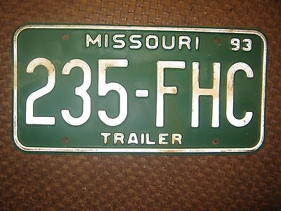 1993 MISSOURI 235-FHC GREEN AND WHITE TRAILER LICENSE PLATE ONLY ONE