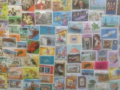 100 Different Anguilla Stamp Collection