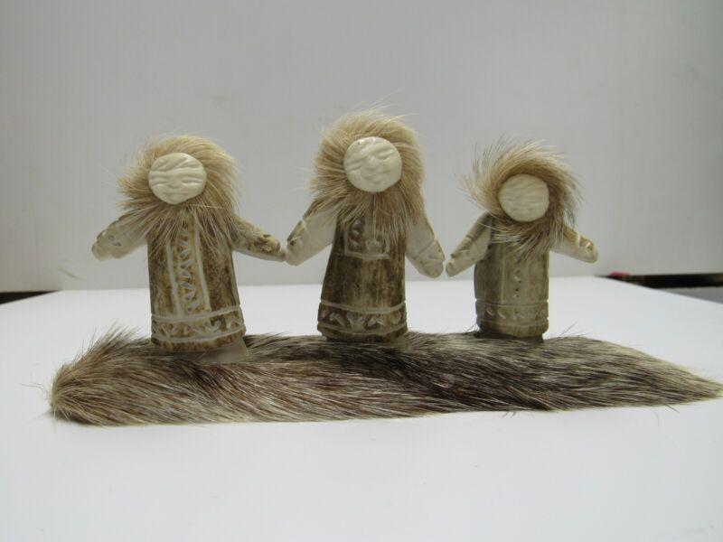 Russian Eskimo Antler Art carving Family Signed