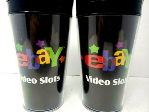 TWO Vtg Ebay Video Slots Black Travel Cup Coffee Mug Logo Vegas eBay Nostalgia