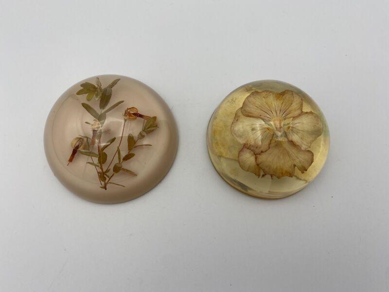 Pair of Vintage Lucite Paperweights w/ Flower Motifs, poss. Wm. Rolfe