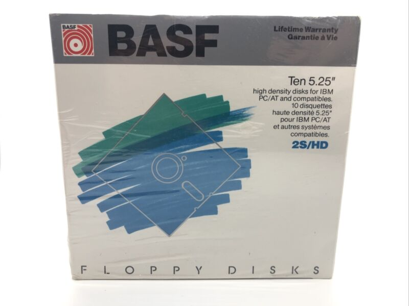 "BASF High Density 5.25"" 2S/HD Floppy Disks SEALED"